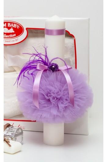 Lumanare botez lila